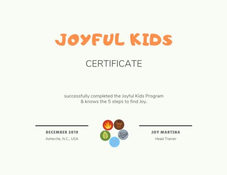 Certificaat Joyful Kids