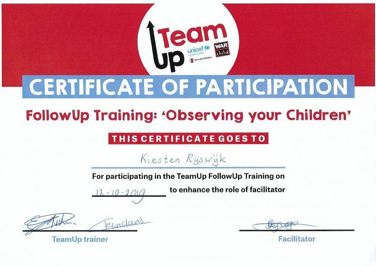 Certificaat TeamUp - Training observing your children